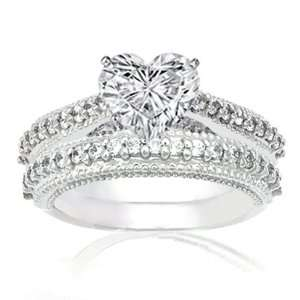 1.50 Ct Heart Shaped Diamond Wedding Rings Set SI2 EGL