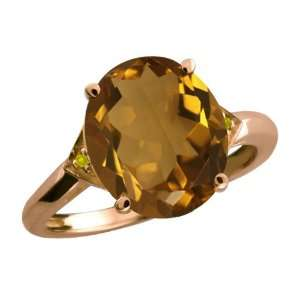 Ct Oval Whiskey Quartz and Canary Diamond 14k Rose Gold Ring Jewelry