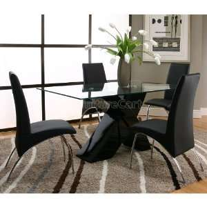 Mensa Black Base Dining Room Set with Black Chairs F5457 42 48 b set
