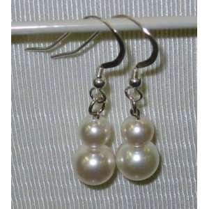 White Swarovski Crystal Dangle Earrings NEW