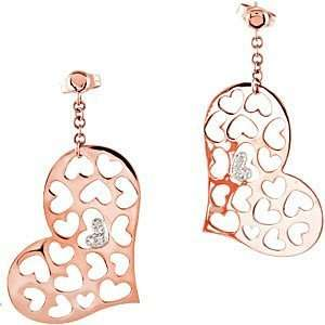 Heart Earrings set in 14 kt Rose Gold and 14 kt White Gold Jewelry
