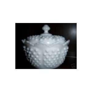 Fenton Hobnail White Milk Glass Covered Candy Jar
