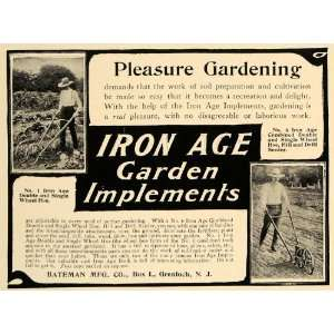 1906 Ad Iron Age Garden Implements Tools Seeder Hoe   Original Print