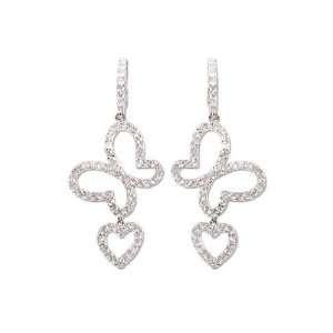 Gold, Butterfly Heart Dangling Drop Earring Lab Created Gems Jewelry