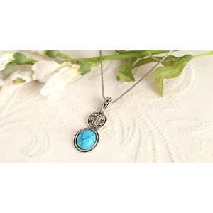 Turquoise Gemstone sterling silver Plated GIFT Pendant Necklace