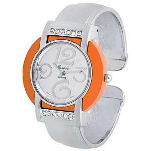 Platinum Rhinestone accented Round Face Cuff Watch Geneva Platinum