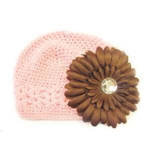 Fits 0   9 Months With a 4 Brown Gerbera Daisy Flower Hair Clip Baby