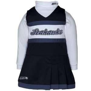 Infant Girls Navy Blue White 2 Piece Turtleneck Creeper & Cheerleader
