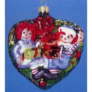 Raggedy Ann & Andy Glass Heart Ornament