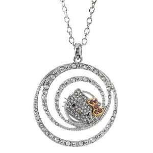 Hello Kitty circles rhinestone necklace with gold lilac