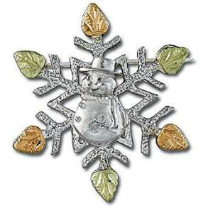 Gold and Silver Snowflake Brooch Pin with Snowman   BR414SS Jewelry