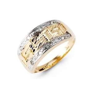 Two Tone Yellow White 14k Solid Gold CZ Greek Key Ring Jewelry