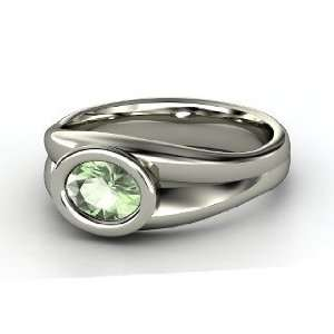 Anzu Ring, Oval Green Amethyst 14K White Gold Ring