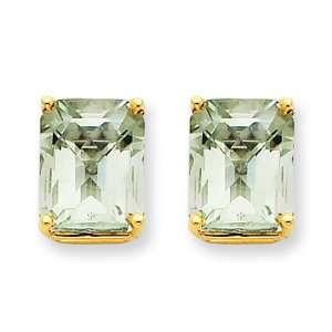 14k Yellow Gold 10x8 Emerald Green Amethyst Earring Jewelry