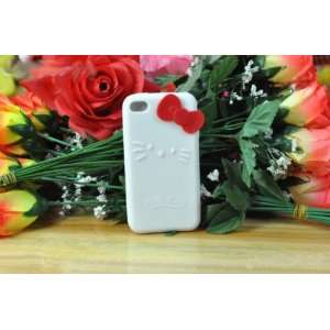 Hello Kitty White Silicone with Red Bow Cover Case for Ipod