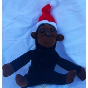Plush Monkey in Holiday Christmas Santa Hat Doll Toy Toys & Games
