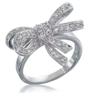 10k White Gold Diamond Bow Ring with Black Enamel, (1/10