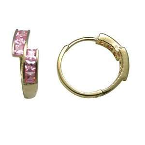 Pink Intensity CZ 14K Yellow Gold Huggie Earrings Jewelry