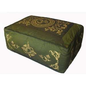 Rectangular Zafu Meditation Cushion   Om in Lotus   Olive Green Vine