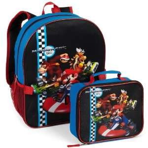 Mario Kart Wii Boys Black Backpack with Lunch Bag  Toys & Games
