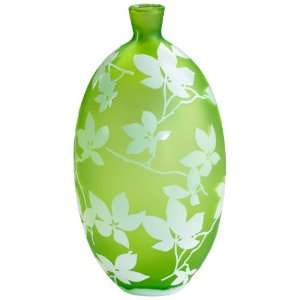 Blossom Large Green and White Glass Vase