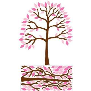 Large Tree with Pink Leaves Tree Wall Decal, Stickers