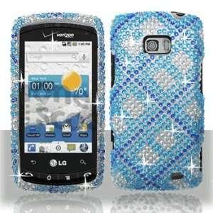 LG Ally VS740 Full Diamond Bling Blue Plaid Hard Case Snap on Cover