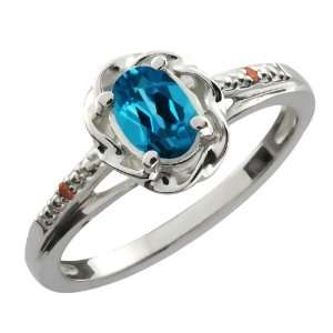 Oval London Blue Topaz Cognac Red Diamond 10K White Gold Ring Jewelry
