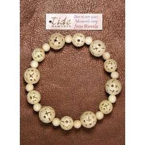 Mammoth Ivory CROSS Carving Bead Stretch Bracelet
