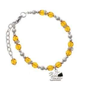 All Star with Black Megaphone Yellow Czech Glass Beaded Charm Bracelet