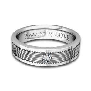 Engraved Mens Diamond Wedding Band Comfort Fit in Platinum