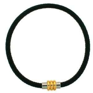 Mens XL Bracelet Leather Black Woven Stainless Steel Magnetic Gold