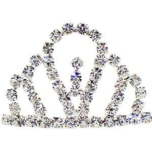 Hair Jewelry, Round Brilliant Crystals Mini Tiara Crown Design Comb