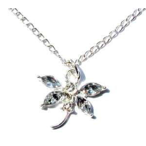 Clear Crystal Rhinestone Dragonfly Pendant Necklace in