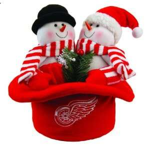 12 NHL Detroit Red Wings Plush Snowmen Top Hat Christmas