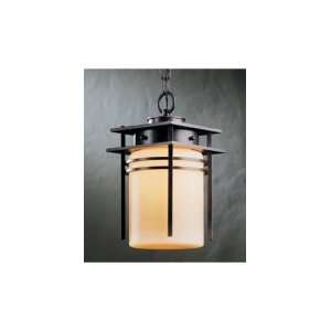H78 Banded 1 Light Outdoor Hanging Lantern in Black with Stone glass