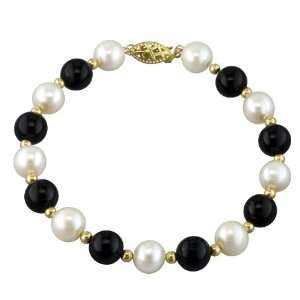 Pearl, 8mm Black Onyx, and 14K Yellow Gold Bead Bracelet Pearlzzz