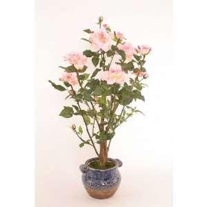 Light Pink Faux Rose Bush in ceramic pot