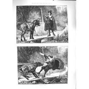 1889 MAN READING BOOK CANAL DONKEY ATTACK FINE ART