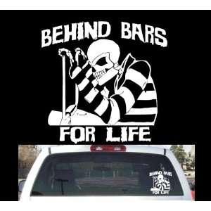 Biker skull behind bars rear window decal 11x11.5 Harley