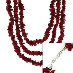 Sterling Silver .925 Red Genuine Sea Bamboo Coral Chip Three Strand