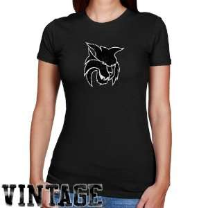 Ladies Black Distressed Logo Vintage Slim Fit T shirt Sports