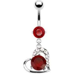 Red Cz Journey Heart Belly Ring Jewelry