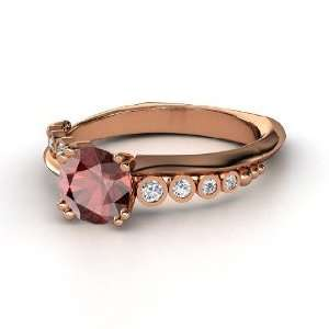 Ring, Round Red Garnet 14K Rose Gold Ring with Diamond Jewelry