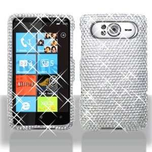 HTC HD7 Full Diamond Bling Silver Hard Case Snap on Cover