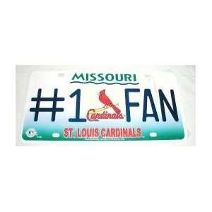 ST LOUIS CARDINALS #1 FAN TEAM METAL License Plate