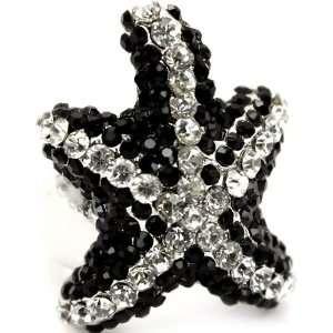 Starfish Fashion Ring on Unique Stretch Band Silver Tone Jewelry