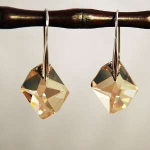 Gold Crystal Cosmic Cut Silver Earrings Used Swarovski Crystals
