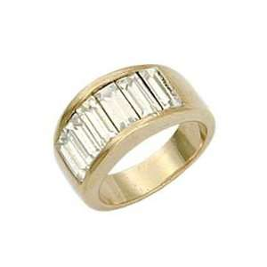 Stone Band Clear Swarovski Crystal Gold Tone Ring, Size 5 10 Jewelry