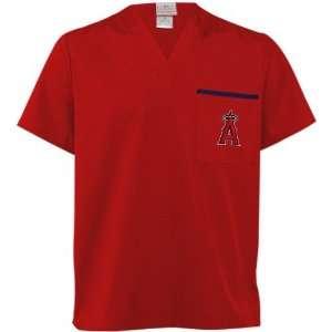 Angeles Angels of Anaheim Red Scrub Top (Medium) Sports & Outdoors